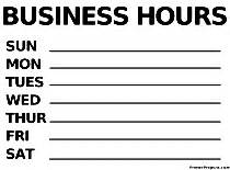 printable signs quot business hours quot
