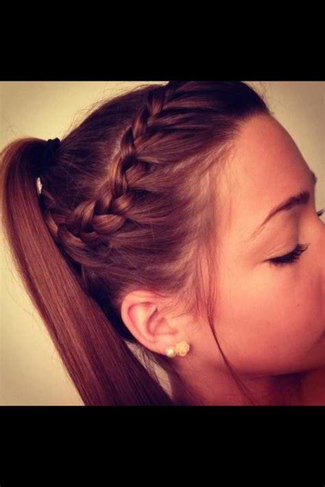 hair braidmed into pony tail with a ball braid into ponytail softball pinterest disney