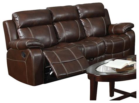 transitional leather sofa coaster myleene leather motion sofa in brown