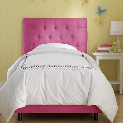 skyline furniture tufted micro suede youth bed in pink