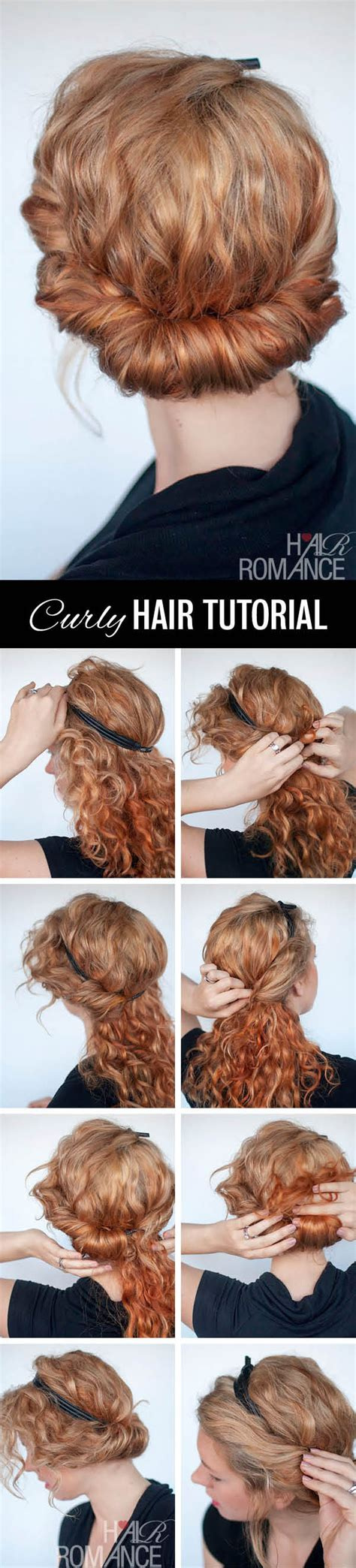 curly hair updos step by step curly hairstyle tutorial rolled headband updo hair romance