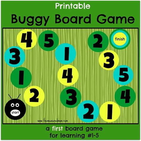 printable numbers board buggy board game a first board game for preschoolers