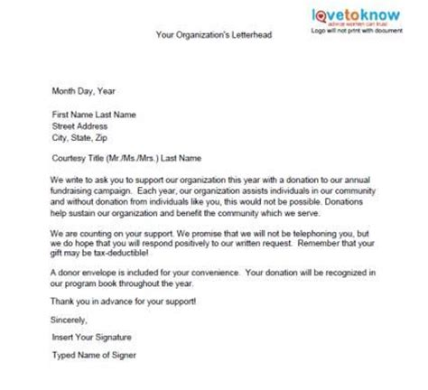 Donation Letterhead Template Wording For Donation Request Sle Just B Cause