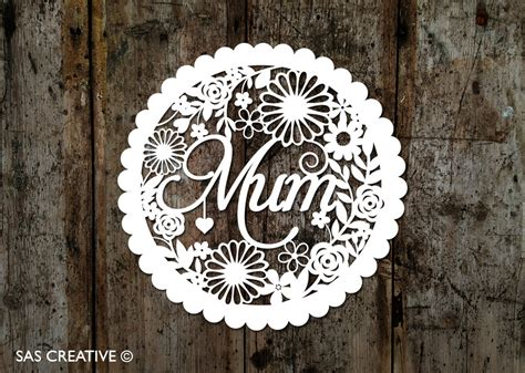 Laser Cut Mothers Day Card Template by Papercut Template S Day New