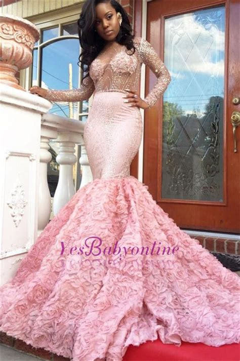 Luxury Pink luxury pink mermaid prom dresses sheer beading