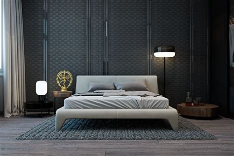 bed in living room a modern flat with striking texture and dark styling