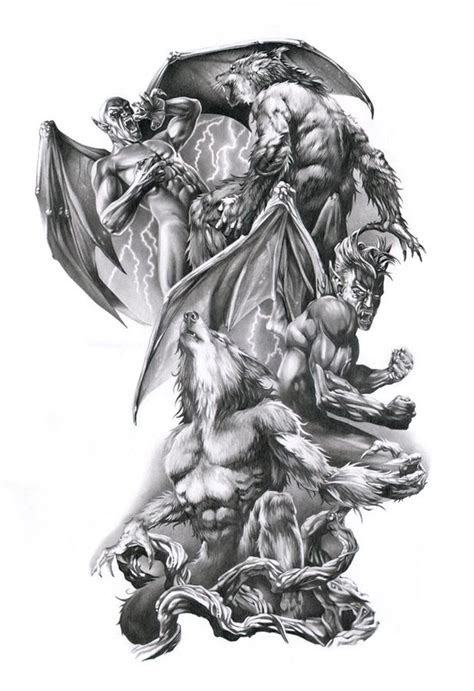 wonderful grey ink werewolf and gargoyle fight tattoo