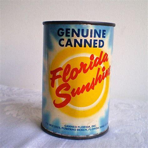 Tall Tin Vase Florida Souvenir Genuine Florida Canned Sunshine Can