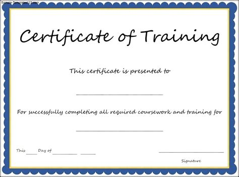 certificate of training template sle templates