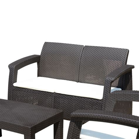 outsunny 4 piece all weather rattan style wicker outdoor