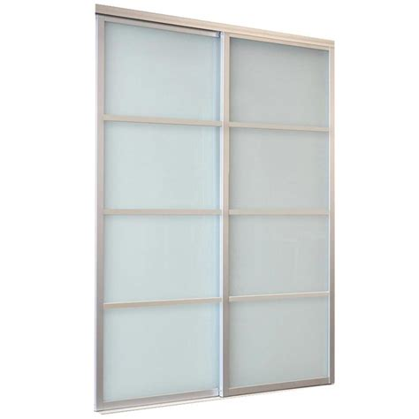 Glass Mirror Closet Doors Shop Reliabilt 9800 Series Boston By Pass Door Glass Mirror 4 Lite Laminated Glass Sliding