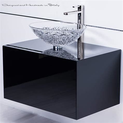 Chic Crystal Vessel Sink on 30 Inch Black Lacquer Bathroom