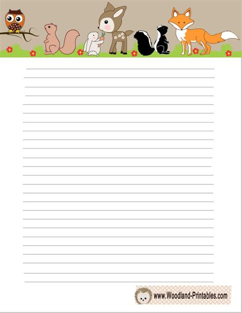 printable paper animals woodland creatures writing paper free printables