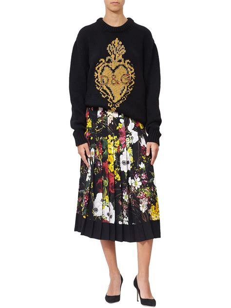 Dg Dolce And Gabbana Flash Collection Knit And Leather Shopper by Lyst Dolce Gabbana Embroidered Maxi Knit In Black