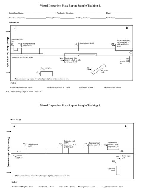 Visual Inspection Plate Report Sample Training 1.: Weld Face