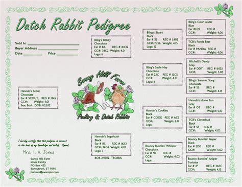 Hand Drawn Logos For Animal Breeders Free Rabbit Pedigree Template