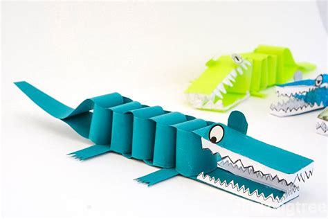 How To Make Crocodile With Paper - paper crocodile craft a bask of crocodiles zingzingtree
