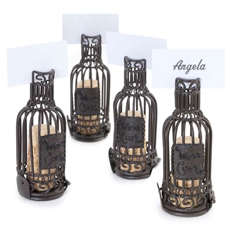 4 pc wine bottle cork placecard holders set w place cards wine bottle cork cage table place card holder set