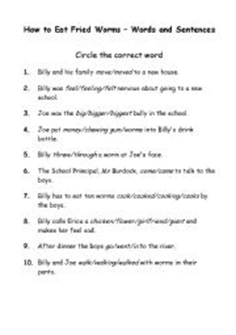 English worksheets: How to Eat Fried Worms - Words and