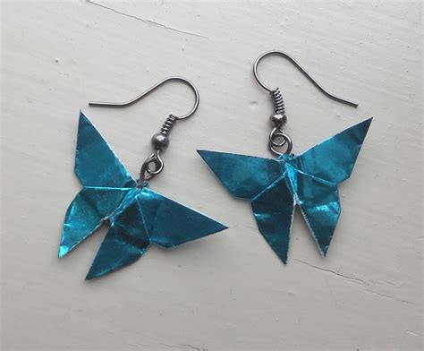 Origami Butterfly Ring - origami butterfly earrings in metallic turquoise