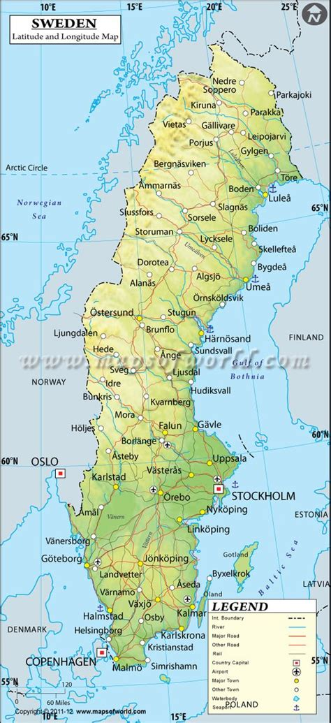 sweden latitude  longitude map  maps geography
