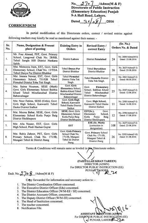 Transfer Letter Of Vehicle Punjab dpi lahore issued corrigendum for inter district teachers