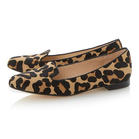 dune leopard loafers dune limbo pony almond toe block heel loafer shoes in