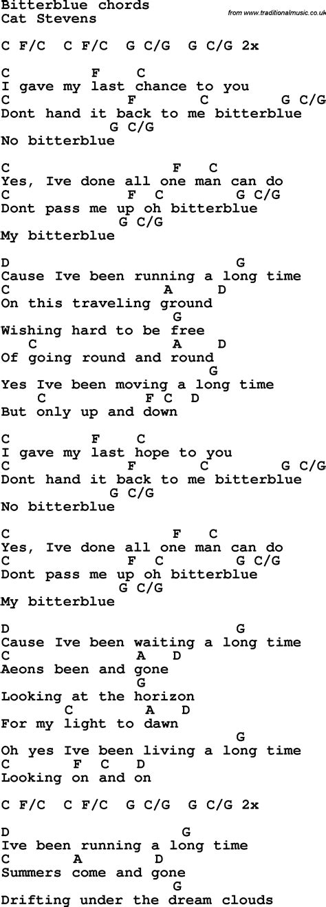 Song lyrics with guitar chords for Bitter Blue