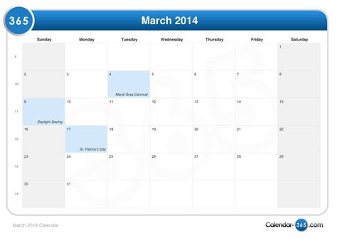 Calendar March 2014 March 2014 Calendar