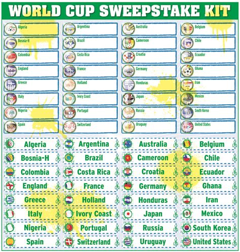 Sweepstake Kit - daily mirror world cup sweepstake kit