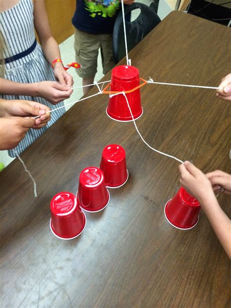 rubber sting ideas ms sepp s counselor corner teamwork cup stack take 2
