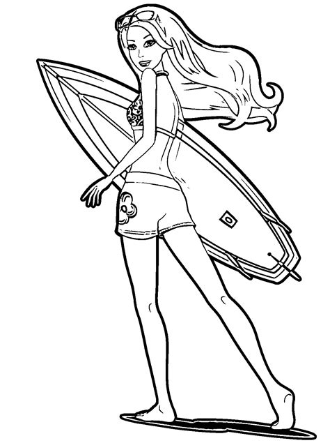 barbie surfer coloring pages barbie surfer free colouring pages