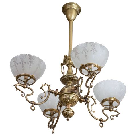 Gas Chandelier Late Four Arm Gas Chandelier With Etched Glass Shades At 1stdibs