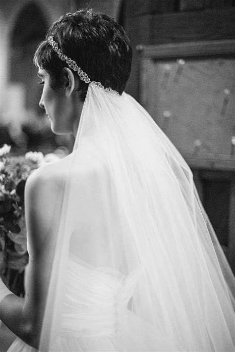 Pixie Cut Wedding Hairstyles With Veil by Pixie Cut With Rhinestone Headband And Veil Black Tie