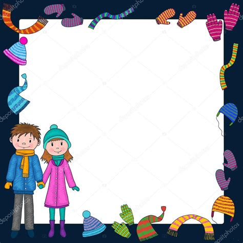 imagenes de invierno dibujos animados fondo de ropa de invierno con los ni 241 os y ni 241 as marco de