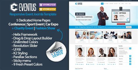 Eventus Responsive Event Joomla Template By Dhsign Themeforest Joomla Event Template