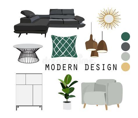 interior design elements vector interior design mid century modern furniture vector