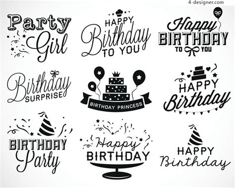 happy birthday notes design vector free vector graphic 4 designer happy birthday english text layout design vector
