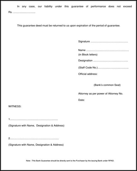 Contract Performance Guarantee Letter format of bank guarantee for faithful performance