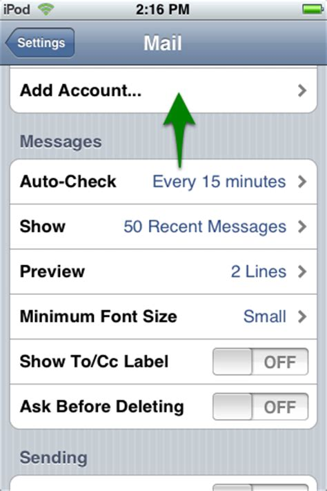 iphone email settings how i set up email on my iphone or ipod touch media temple
