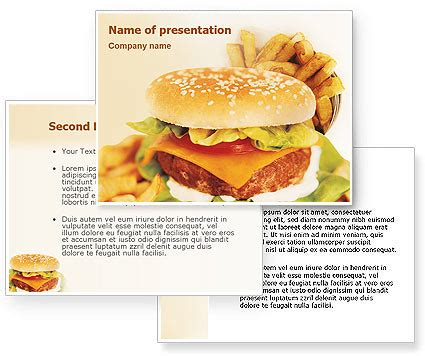 Fast Food Powerpoint Template Poweredtemplate Com 3 Backgrounds 3 Masters 20 Slides Fast Food Ppt Slides