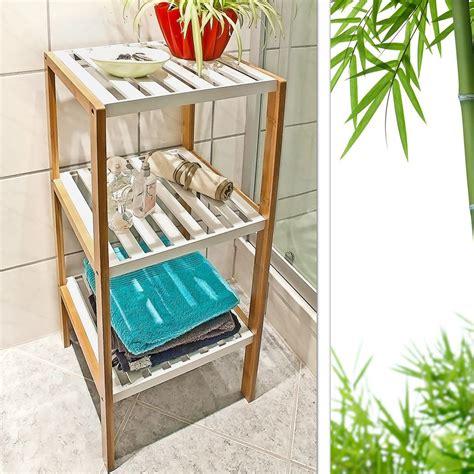Bathroom Shelf 4 Tier Bamboo Rack Storage Towels Spa Organizer Decorative Sturdy Ebay 3 4 Tier Freestanding Bamboo Bathroom Storage Unit Shelf Rack Stand Organiser Ebay