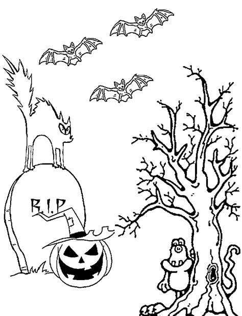 haunted tree coloring page kids printable halloween coloring pictures