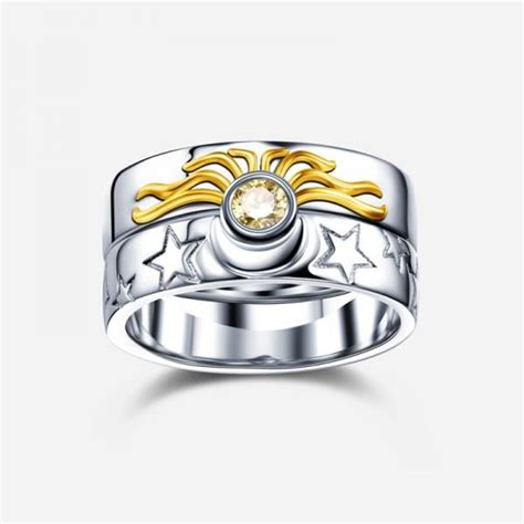 sun and moon 925 sterling silver engagement ring evermarker