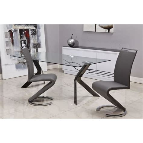 chaise virage sidney lot de 2 chaises design de salle 224 manger gris