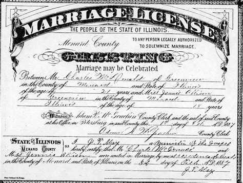 Marriage Records Il Charles Henry Mcdonald And Allison A