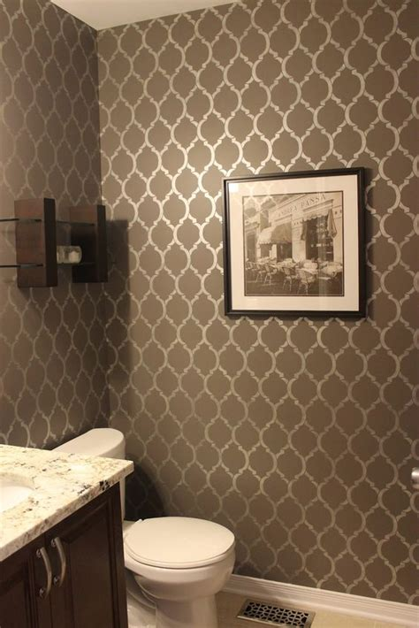 stenciled powder room wall km decor home tour i want