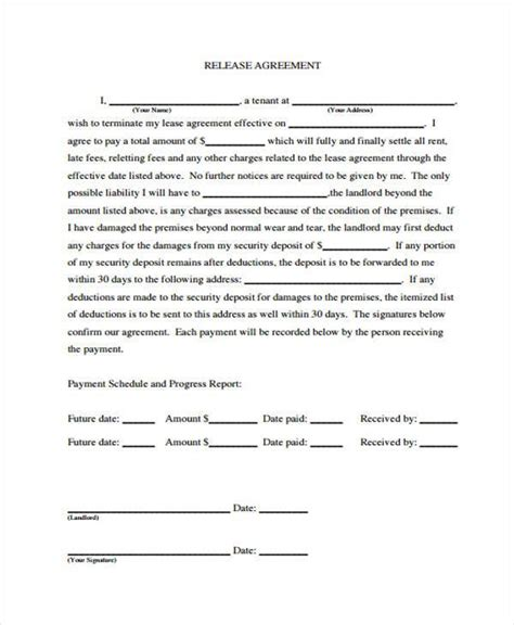 Release From Lease Agreement Letter 7 Release Agreement Form Sles Free Sle Exle Format