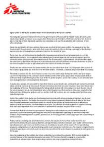 Cover Letter Humanitarian by Open Letter To All States And Non State Actors Involved In The Syrian Conflict Msf Usa