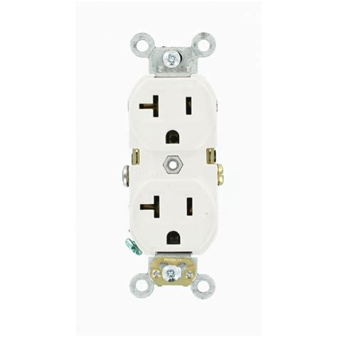leviton 20 commercial duplex power outlet white r62